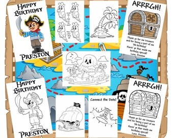 customized pirate theme party favor coloring books sent by email personalized just for you