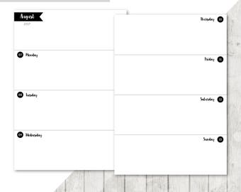 SB-A5 | 2017-2018 Week On 2 Pages Printable Planner Inserts - 2017 2018 Weekly Two Pages A5 Inserts Filofax Calendar Printable Pages