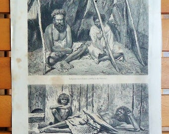 AUSTRALIAN ABORIGINES. Beautiful Engraving of 1863... Authentic antique Engraving!!