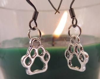 Paw Print Earrings, Silver Paw Earrings, Hypoallergenic Earrings. Nickel Free Jewelry, Pet Lovers Earrings, Pet Lovers Gift, Dog Lovers