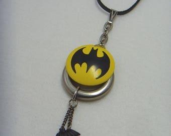 SALE Batman Necklace Pendant, Batgirl, Bat Signal Logo Charm, Black Leather Cord & Silver Accents, DC  Comics, Drop Pendant