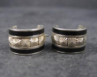 Vintage Sterling Inlay Huggie Hoop Earrings
