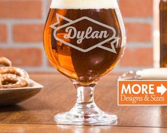 Custom Beer Glasses, Gift For Boyfriend, Belgian Beer Glass, Personalized Tulip Glasses, Groomsmen Gift, Etched Beer Glass, Gift Idea