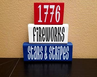 Fourth of July Wood Blocks - 4th of July Wood Blocks - Fourth of July Decor - 4th of July Decor - Wood Blocks - Fourth of July - 4th of July