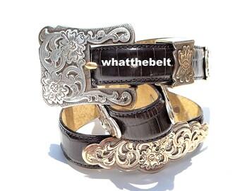 Vintage Belt BELT MASTER Dark Brown Silver Conchos Western Belt Medium
