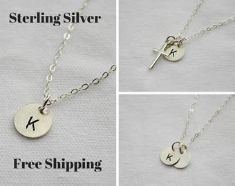 Initial necklace - Personalized Necklace for Women - Sterling Silver Necklace - Letter Necklace - Gift For Her - Bridesmaid Gift - Dainty