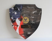 Military Shield Guestbook/Military Retirement/Guest Book/Wood/Personalized/Alternative/Army/Coast Guard/Air Force/Marine