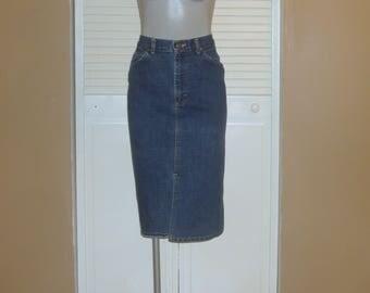 Vintage Lee Blue Denim High Waisted Knee Length Pencil Skirt~7~