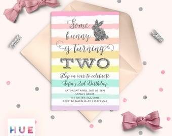 some bunny is turning two birthday invitation, easter birthday party invitation, rainbow silver glitter rabbit girls 2nd birthday invitation