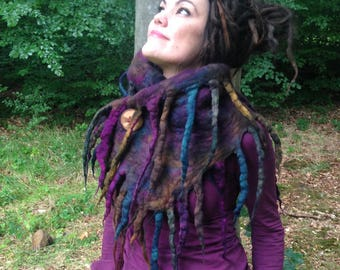 The 'Ancient Roots' Witchy Felted Scarf of Deep Rainbow Hued Roots and Dreadlocks, Warm Snug Woodland Faery Cowl, Pagan Clothing