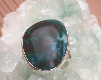 Chrysocolla Large Chrysocolla Stone 92.5 Silver Ring US size 7 3/4 Approx. 25mm x 19mm
