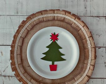 Christmas Burlap Placemats - Round Tablemats - Burlap Table Settings - Round Placemats - Plate Charger - Ruffled Round Placemats - Set of 6