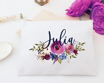 Personalized Fall Floral Cosmetic Bag - Wedding Bags,Monogram Makeup Bag, Bridal Custom Cosmetic Bag, Personalized toiletry bag, pencil bag