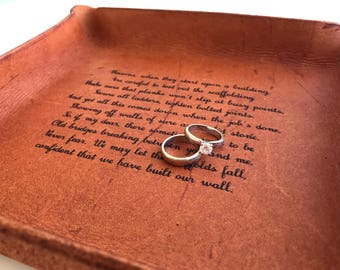 Wedding Vows Leather Tray / Third Anniversary Gift / Personalized Catchall / 3rd Anniversary Gift / Engraved with your Vows, Song, Message