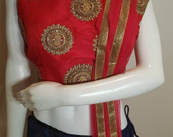 Navy Blue and Red Lehanga Choli with Golden Embroidery