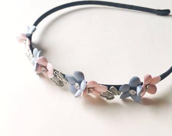 Penny Headband - Butterfly headband - Boho headband - Flower headband - Woodland headband - Pink Flower - Baby Blue Flower - Adult headband