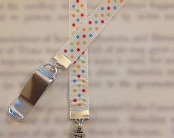 ON SALE Dance bookmark / Dancer bookmark - Attach clip to book cover then mark the page with the ribbon. Never lose your bookmark!