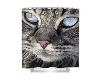 Cat Shower Curtain, Cat Mom, Cat Decor, Cat Lover Gift, Cat Bathroom, Grey Shower Curtain, Feline, Persian Cat