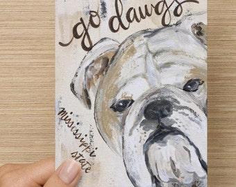 Mississippi State notecards, Stationary, Collegiate notecards, MSU Bulldogs, Hail State, Go Dawgs, MSU gift, Notecards, original art print