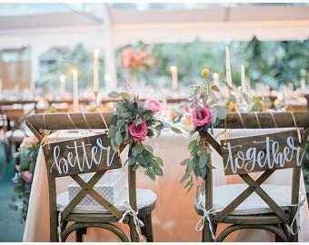 Better Together Sign | Better Together Chair Signs | Sweetheart Table Signs | Mr and Mrs Chair Signs | Bride and Groom Chair Signs | Wooden
