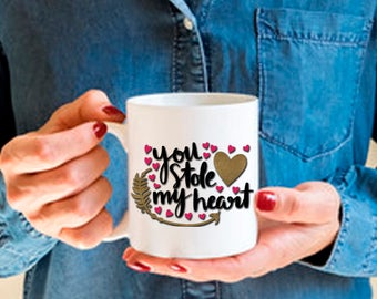 Romantic Gift for Wife Husband Spouse Fiance, You Stole My Heart, Funny and Humorous Mug, Coffee Tea Lover Gift Idea, Valentine Coffee Gift