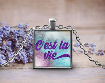 C'est la Vie French Paris Pendant Necklace, Keepsake Jewelry Gift, Word Print Necklace, Birthday Anniversary Present, Gifts for Mom Daughter