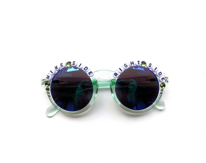 """Phish """"Mike Side Right Side"""" hand decorated Groovy Glasses, embellished sunglasses to show your Mike Gordon love, funky Phish frames"""