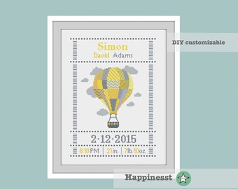 cross stitch baby birth sampler, birth announcement, hot air balloon, yellow grey, DIY customizable pattern** instant download**