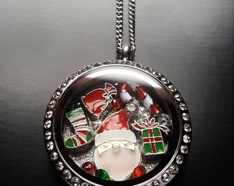 Christmas Floating Locket Necklace-Santa Themed-Great Gift Ideas