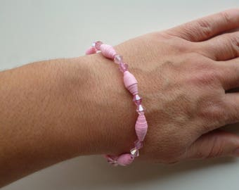 """""""candy pink"""" Stretch Bracelet with seed beads and paper roses"""