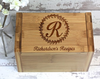 Recipe Box, Monogrammed Wood Recipe Box, Customize a Recipe Box - Wedding Gift, Housewarming Gift, Gift Idea