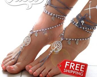 Gray Barefoot Sandals. Hippie Shoes. Destination Wedding
