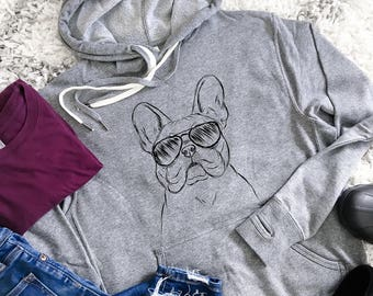 Franco - French Bulldog Hoodie - Grey French Terry - Unisex Slim Fit