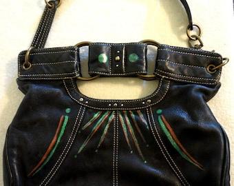 "Hayden-Hartnett Leather Handbag ""On a Whim"", Hand Painted, One of a Kind"