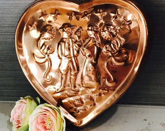 Vintage Benjamin & Medwin B M Douro Large Copper Plated Heart Loving Couple