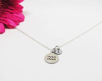 Silver Aquarius Necklace - Zodiac Necklace - Astrology Necklace - Zodiac Charm Jewelry - Aquarius Charm - Zodiac Jewelry - Birthday Gift
