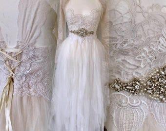 Boho wedding dress strong and feminin,Fairy wedding dress, alternative wedding spectacular ,Victorian wedding,unique bridal gown rawrags