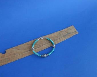 Round Bead Turquoise Bracelet, Solid Sterling Silver Filigree Ball Bracelet, Handmade Silver Ball Bracelet, Dubrovnik Filigree Bracelet