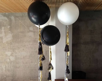 """Combo - Giant Latex Round Balloon + Tassels Set (Black or White 36"""") - Wedding, Party, Event Decors, Photo prop"""