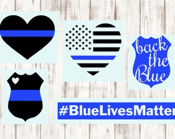 Police Decal - Thin Blue Line Decal - Blue Lives Matter Decal - Cop Decal - Back The Blue Decal
