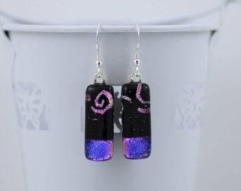 Cerise/Purple and Black Drop Earrings - Fashion Accessories - Dangle Earrings - Dichroic Glass - Sterling Silver Hooks.  JBT443