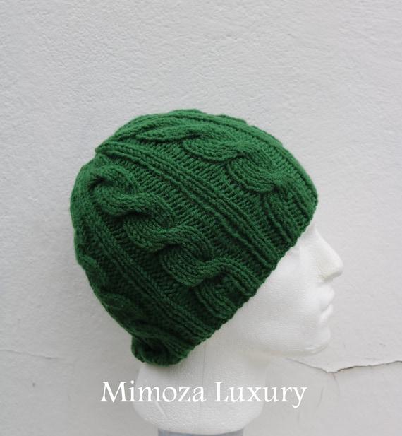 Pine Green Men's Beanie hat, Hand Knitted Hat in pine green beanie hat, knitted men's, women's beanie hat, winter beanie, green ski hat