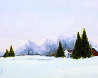 "December Dawn Original Landscape Rural Winter Acrylic on Board 4""x6"""