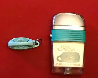Vintage Scripto Vu-lighter The Princess phone telephone lighter blue keychain charm