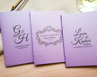 25 Lilac Pearlised Mini Notebook Favours. Custom purple wedding favours, Violet place cards. Unique Notepad favour. Personalised favours