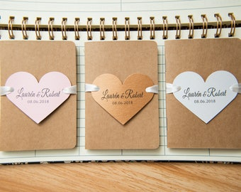 25+ Kraft wedding favours. Mini notebook wedding favours with printed hearts & ribbons. Notebook favours. Custom wedding favour place cards