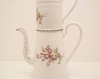 Vintage 1900's  1920's French Large Enamel Coffee Pot Enameled décorated with flowers