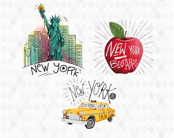 New York City, Watercolor New York, New York Clipart, Clip Art, Statue of Liberty, Big Apple, PNG File, Watercolor Clipart, NYC, Taxi Car