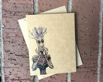 Marvel Groot (Guardians of the Galaxy)  Comic Book Greeting Card (Blank)
