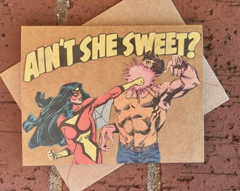 Vintage Marvel Avengers Spider-Woman Comic Book Greeting Card (Blank)